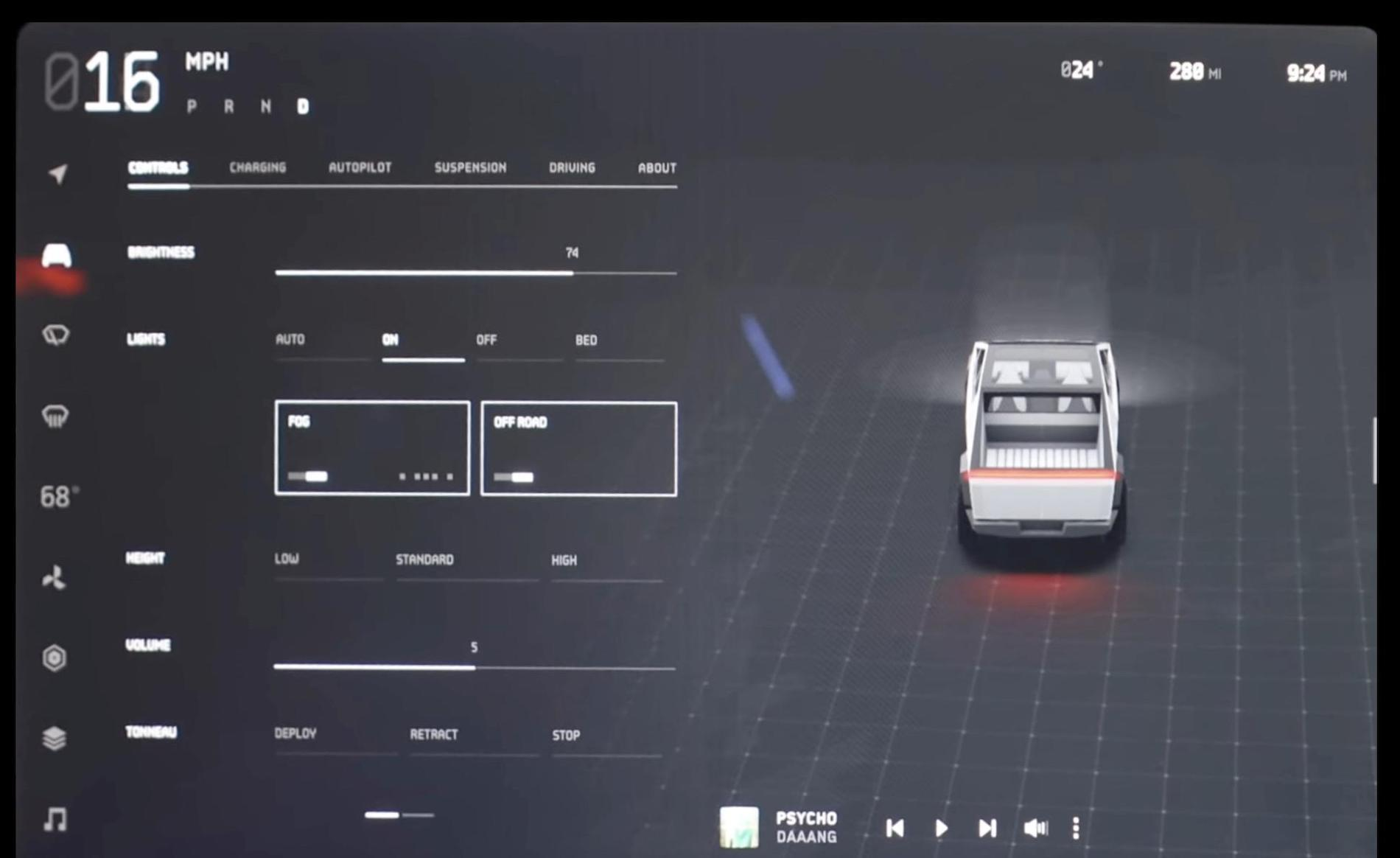 Clear look at Cybertruck touchscreen display UI showing ...